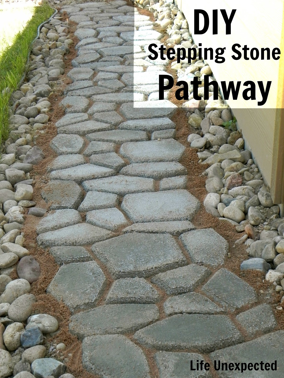 life unexpected diy stepping stone pathway. Black Bedroom Furniture Sets. Home Design Ideas