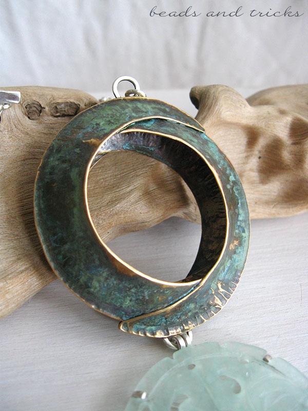 Collana in argento, ottone similoro e giadeite