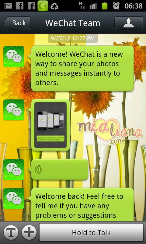 berjaya register dan login ke dalam WeChat, mesej daripada WeChat ...