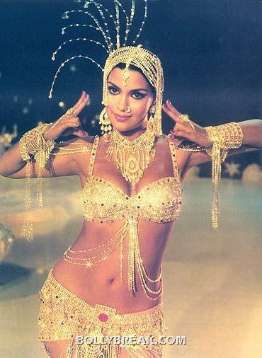 Zeenat Aman Bikini - Golden, Navel show - Zeenat Aman Bikini Pics