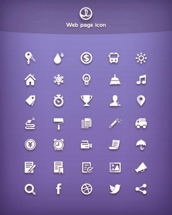 White web media psd icons