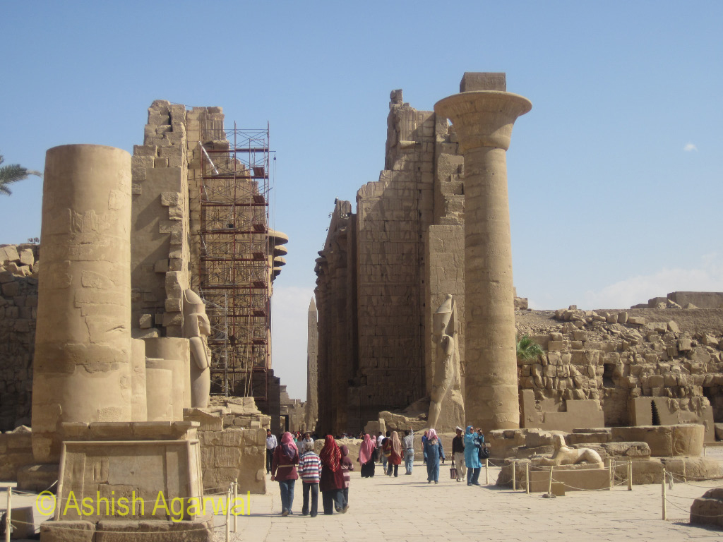 View of the structures of different sizes and shapes in the Karnak temple in Luxor
