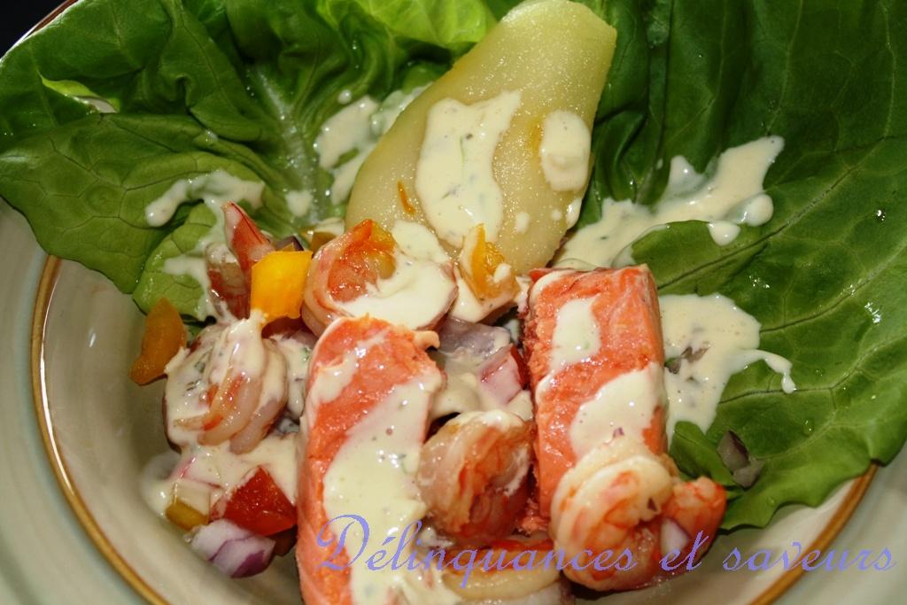 d linquances et saveurs salade de crevettes et de saumon aux poires. Black Bedroom Furniture Sets. Home Design Ideas
