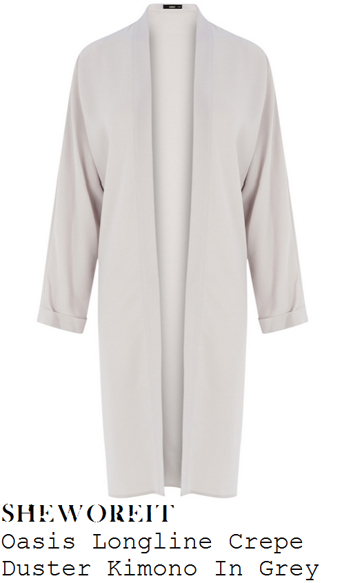 lauren-pope-grey-long-sleeve-longline-kimono-coat