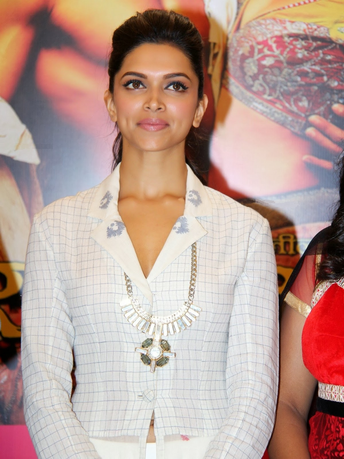 Deepika Padukone in White Shirt with Necklace Long Skirt Beautiful Pics Spotted Promoting Raas Leela