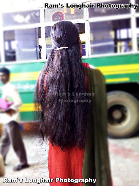 Chennai long hair girl in bus stop.