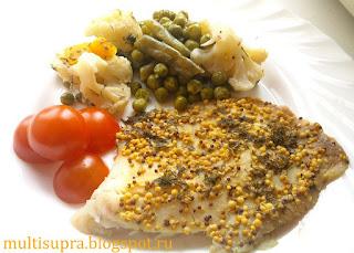 Паровая рыба с овощами в мультиварке