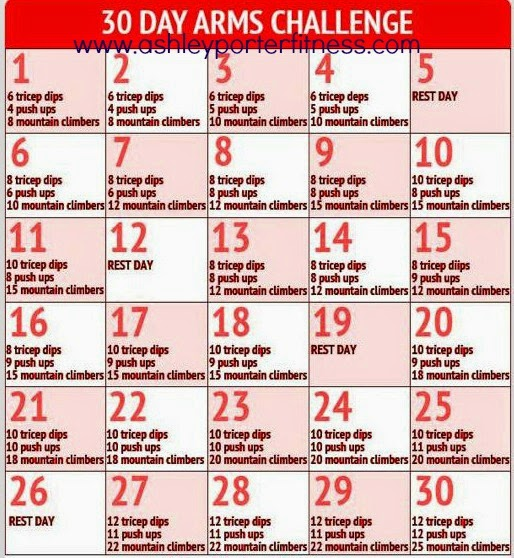 30 day arm challenge free to everyone and no weights required