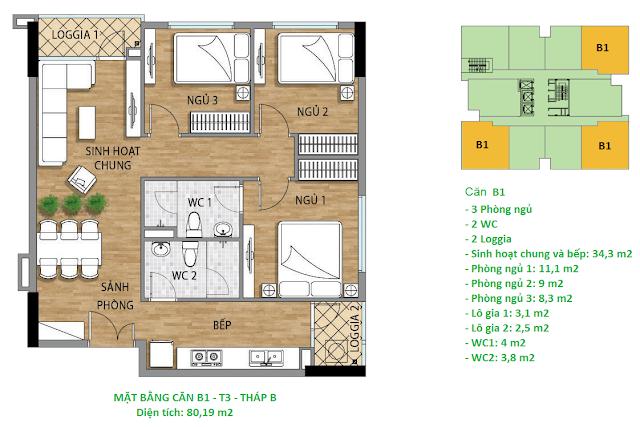 Căn hộ B1 diện tích 80,19 m2 tầng 3 Valencia Garden