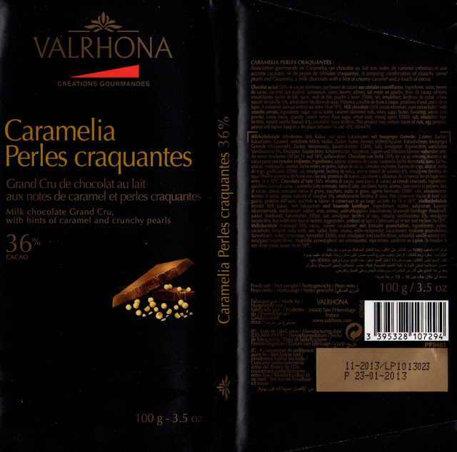 tablette de chocolat lait gourmand valrhona caramelia perles craquantes 36