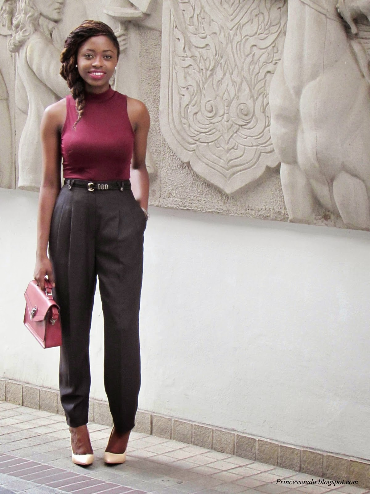 burgundy, turtle neck, vintage trouser, nude pumps