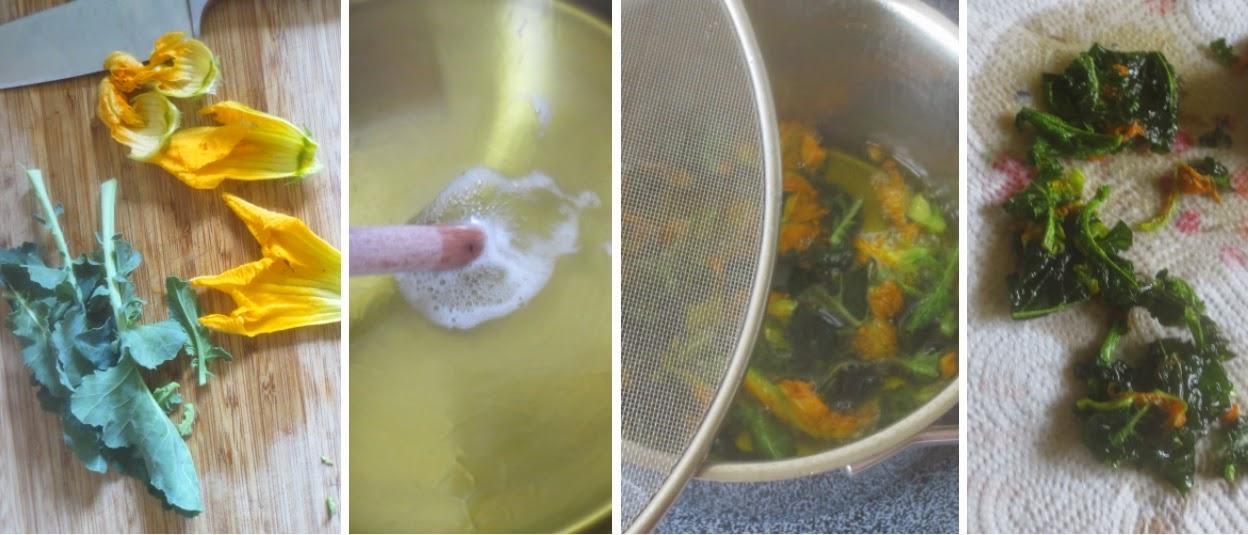Zubereitung Kohlrabigrün und Zucchiniblüten