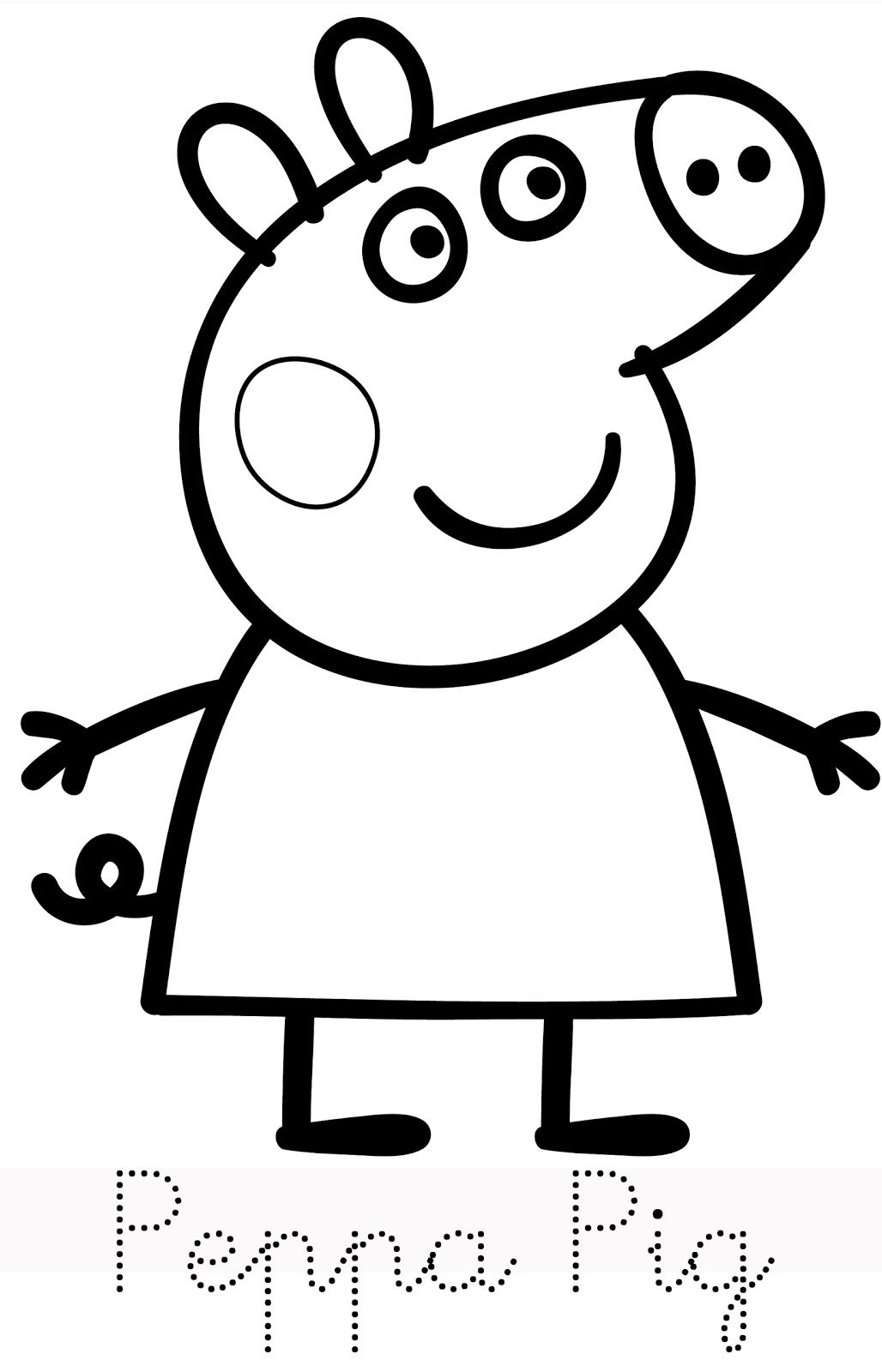 Baby potatoes family of peppa pig for Peppa pig drawing templates