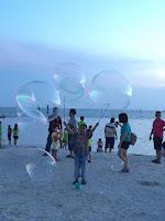 Playing kites and soap bubbles | Pantai Redang, Sekinchan