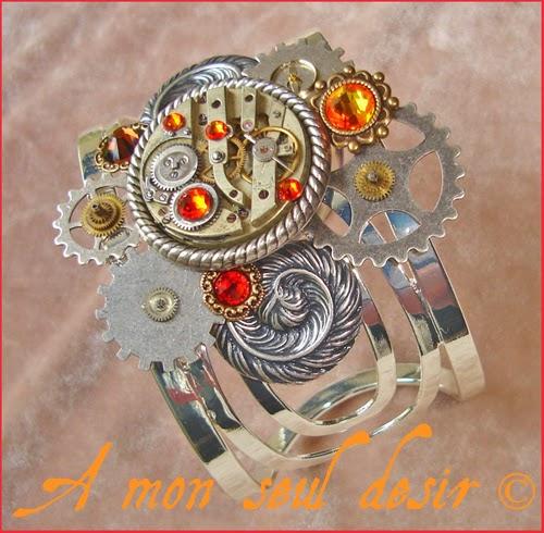 Bracelet Steampunk Mécanisme Mouvement de montre mécanique Rouages plumes ailes argent ClockWork Jewel Watchwork Jewelry