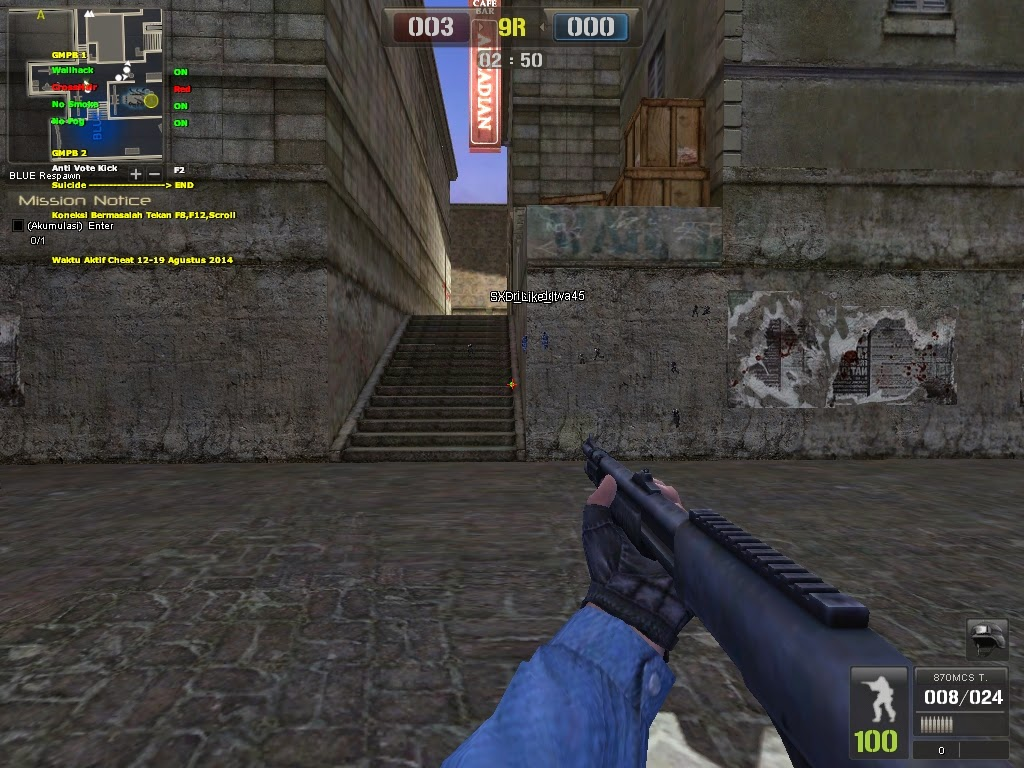 Cheat Point Blank Wallhack + Crosshair + No Smoke + No Fog 05 September 2014