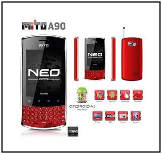 Mito A90 HP QWERTY Android Jelly Bean harga dibawah 1 juta
