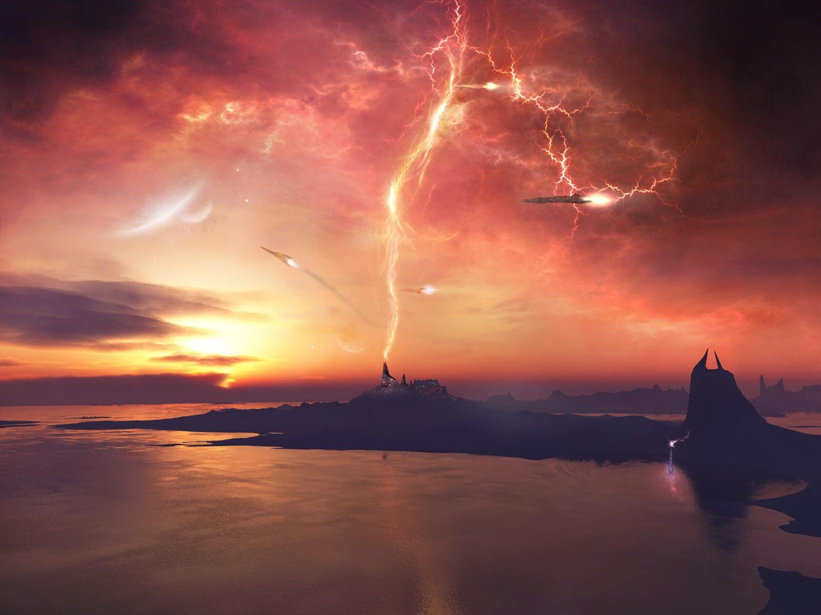 Lightning in Sunset HD Wllpaper