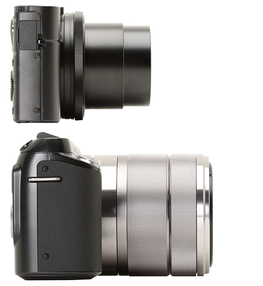 Sony RX100 Lens Extended vs NEX-F3 with 18-55mm Lens