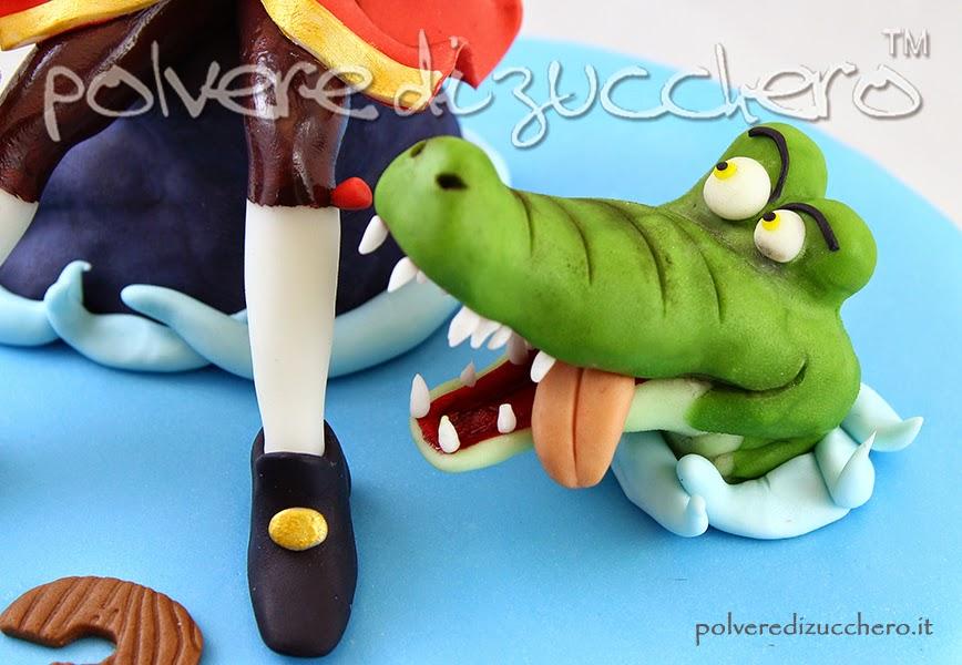 capitan uncino coccodrillo disney pasta di zucchero torta decorata modelling polvere di zucchero