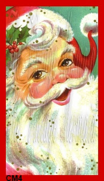 christmas fabric block santa vintage postcard by vintagemermaidsfabricblocks.com