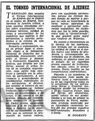 Crónica de Manuel Golmayo sobre el II Torneo Internacional de Ajedrez Madrid 1957 publicada en ABC