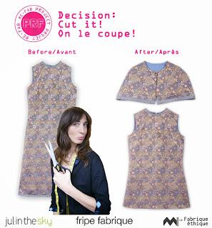 raccourcir une robe doublée et fabriquer une cape