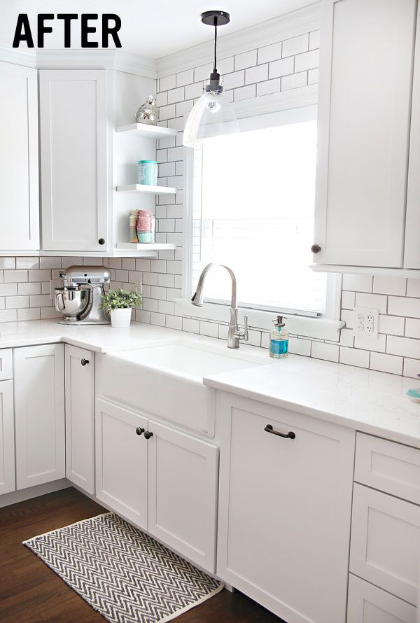 the current cabinets compete with our dark floors and just make everything look dark and dingy for our backsplash i really want to do a white subway tile