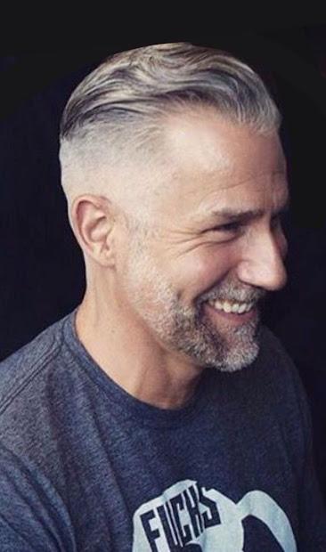 gray haired men - haircut