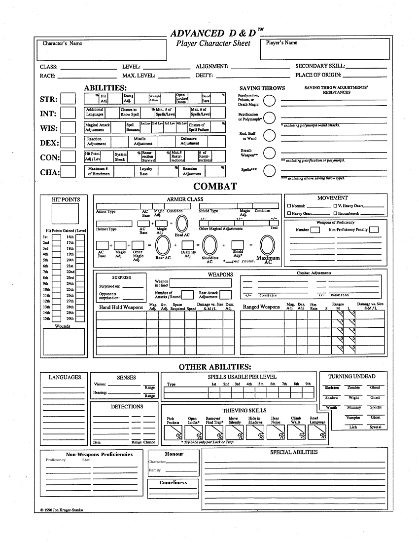 Ambitious image for dungeons and dragons printable character sheet