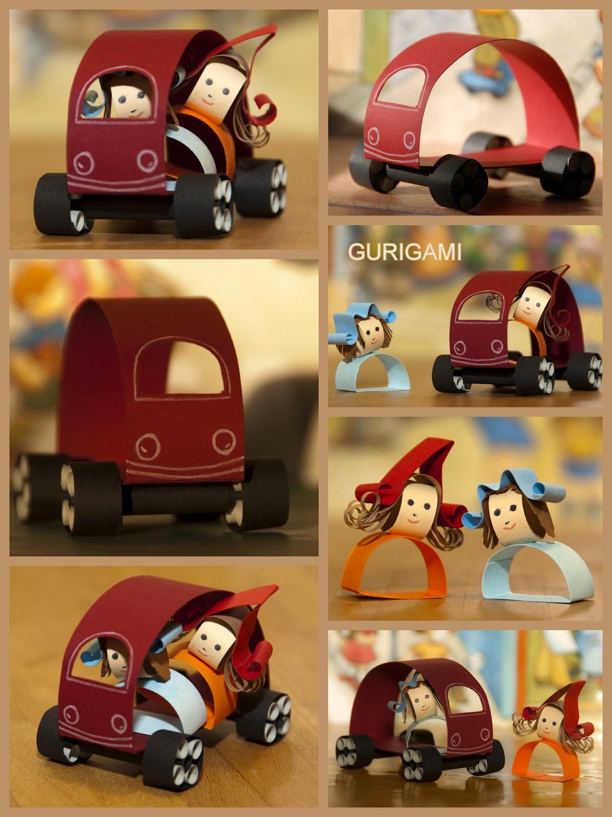 Gurigami. Petites voitures en papier.