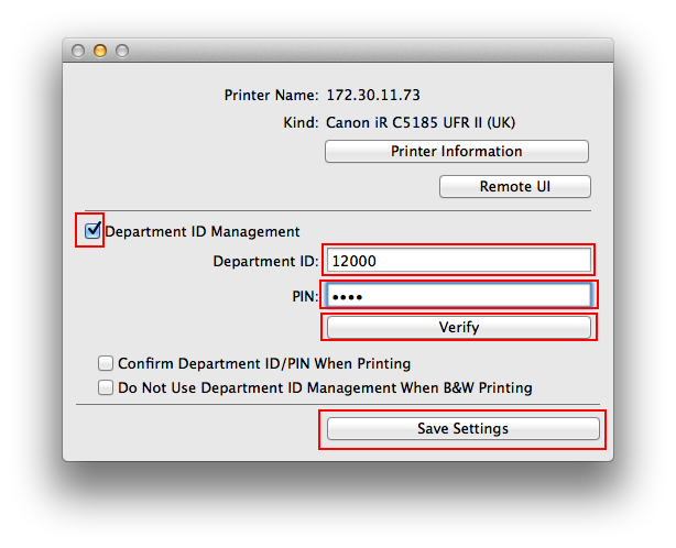 Mac OS X: connect to Canon iR C5185 Printer with