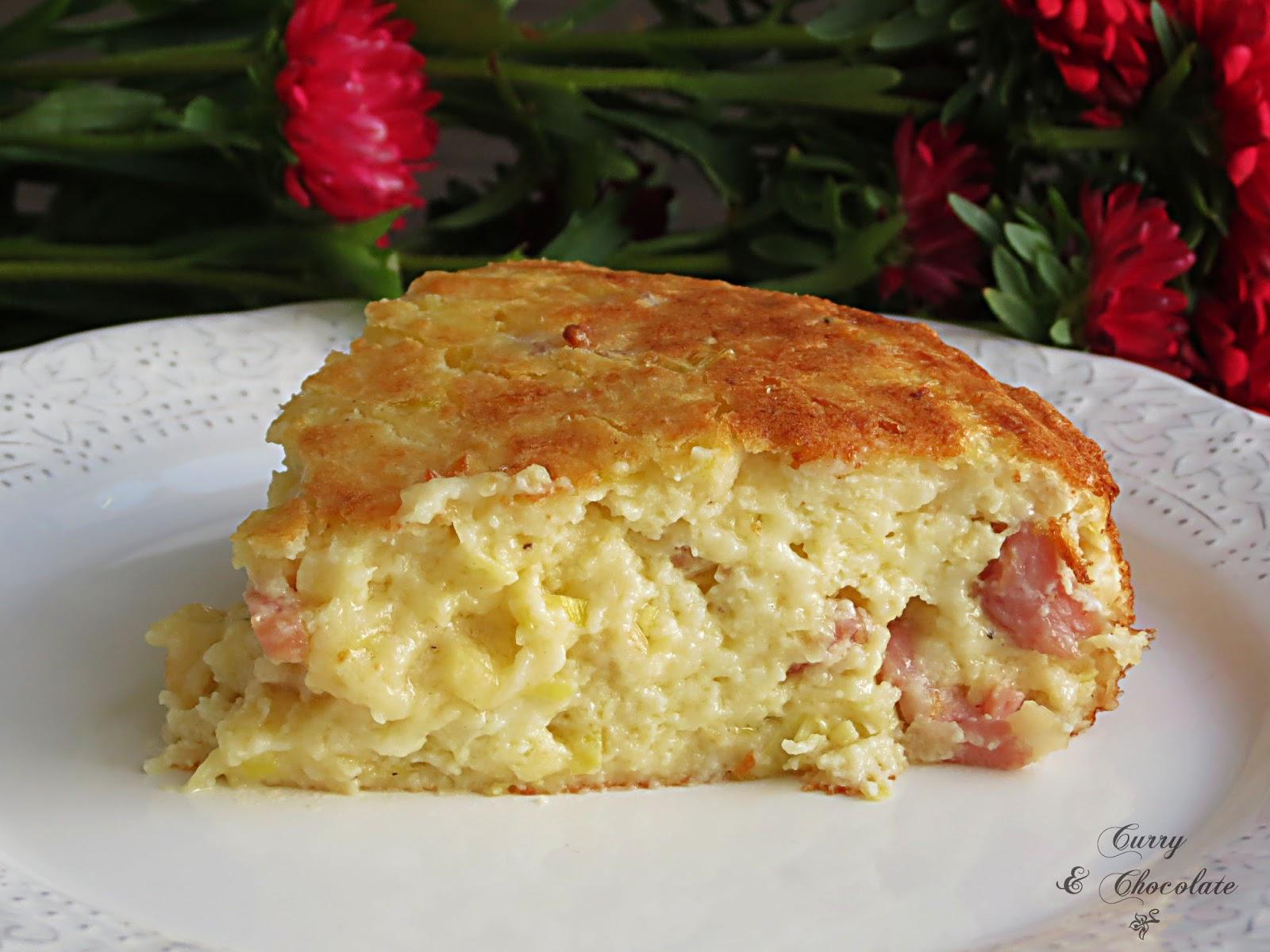 Pastel salado de queso viejo, puerro y bacon – Salty cake with cheese, leek and bacon