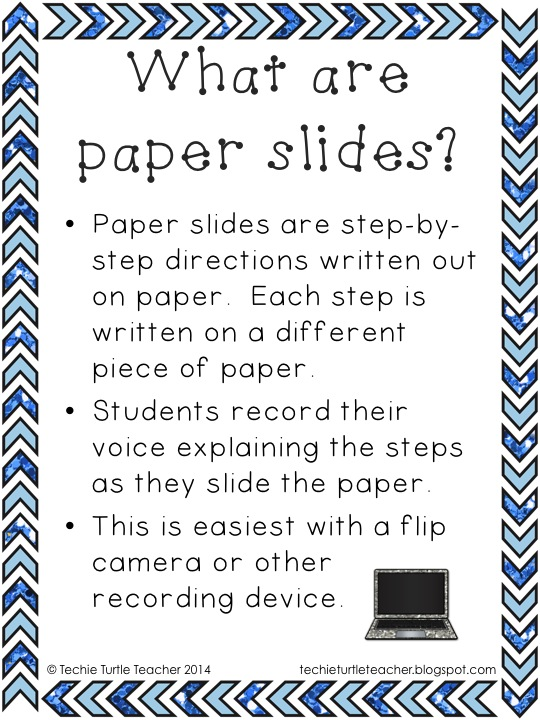 http://www.teacherspayteachers.com/Product/Technology-Flip-Camera-or-iPad-Activity-How-To-Use-a-Paper-Slide-1143005