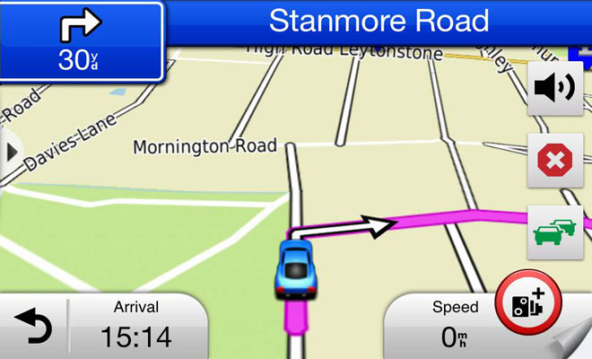 Garmin Hud+ navigation screen