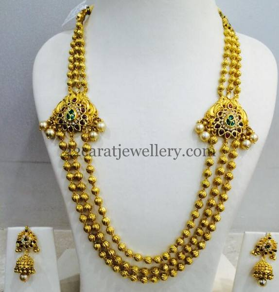 Gold Beads Set Ruby Motifs nd Jhumkas
