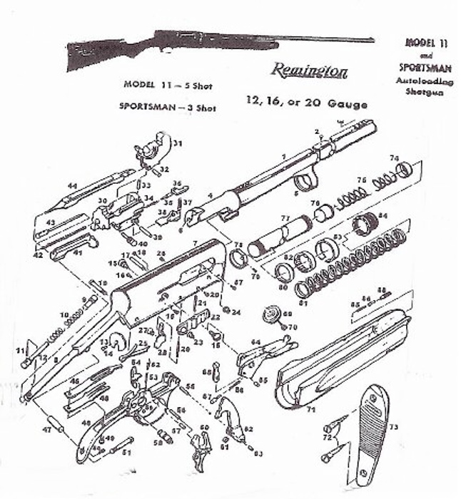 remington model 11 shotgun parts diagram  remington  free