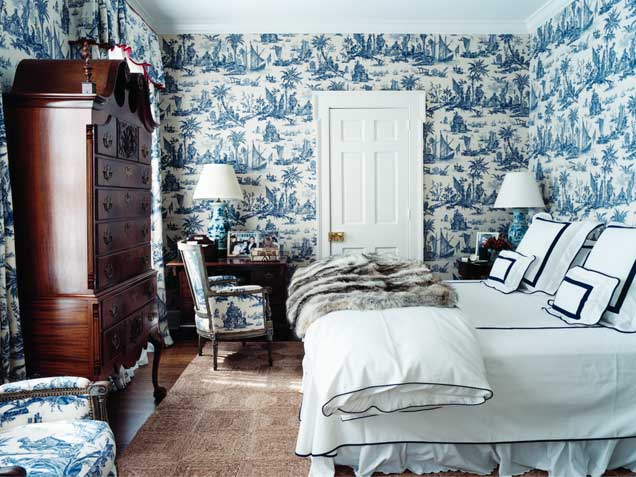 Blue Toile Bedroom Ideas: Let's Talk About Fabric As Wallpaper
