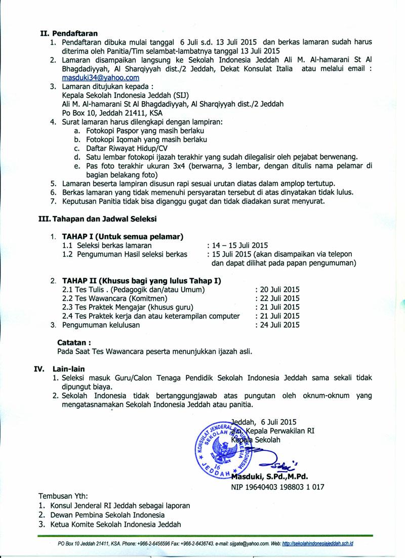Lowongan Guru Dan Pegawai Sekolah Indonesia Jeddah Sij Tahun 2015 Info Dikdas