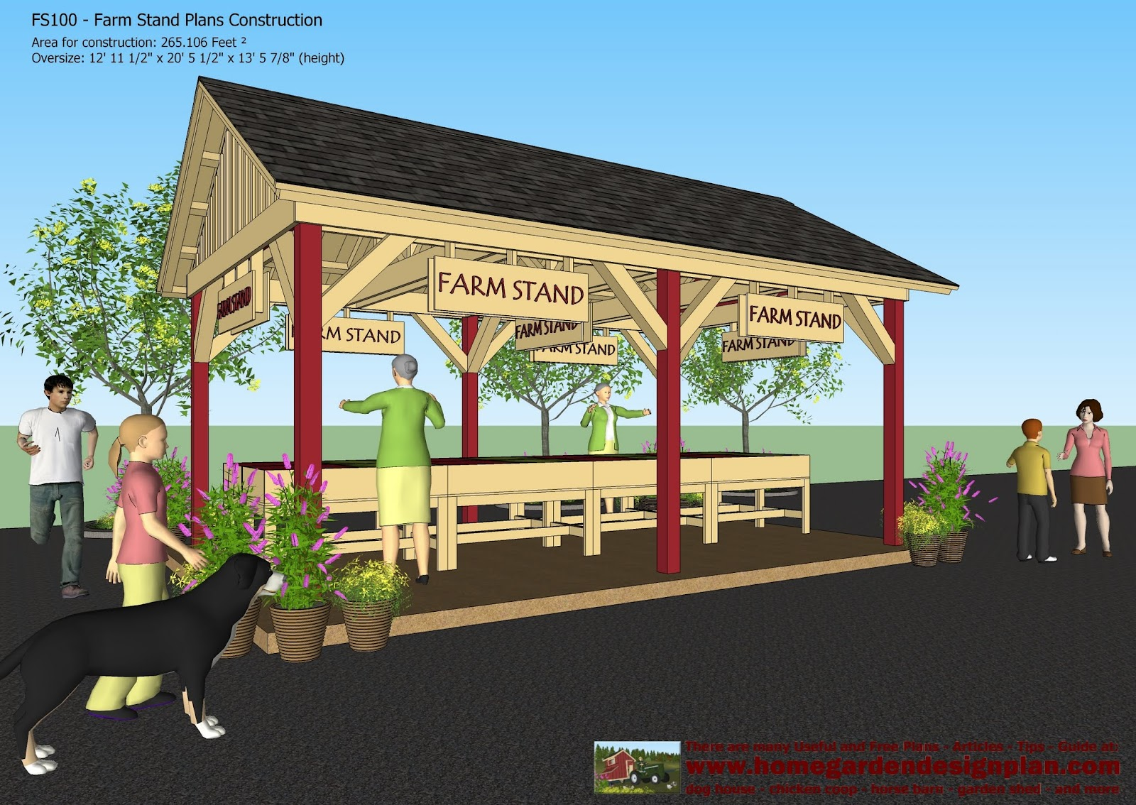 Home garden plans fs100 farm stand plans construction for Farm table plans drawings