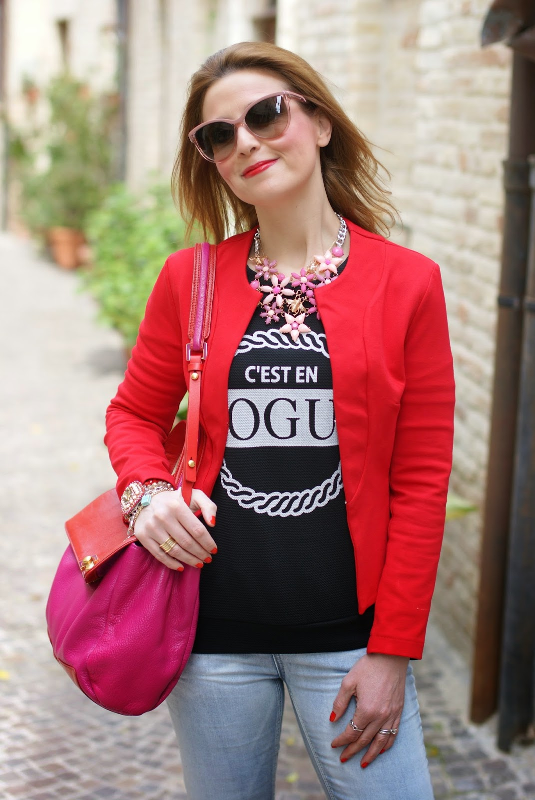 Fiona C jacket, Zaful necklace, Stella McCartney sunglasses, Fashion and Cookies fashion blog, fashion blogger streetstyle