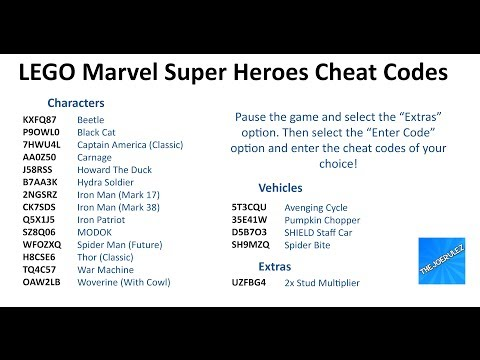 marvel lego super heroes codes