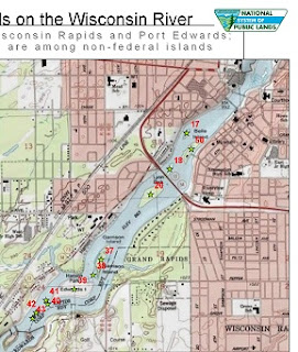picture of a map showing public islands in the Wisconsin River