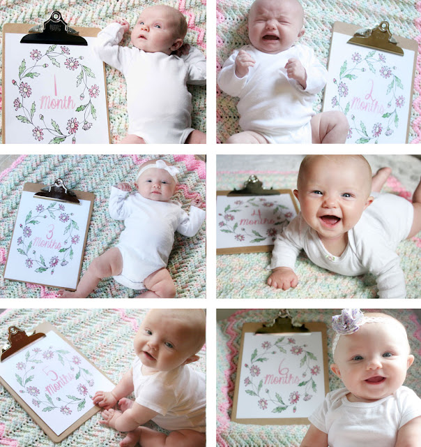 Take monthly baby photos using this printable and a clipboard // Craftivity Designs