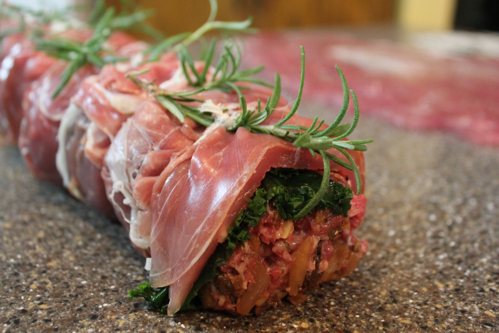 Thyme In Our Kitchen: Prosciutto-Wrapped Pork Loin with Roasted Apples