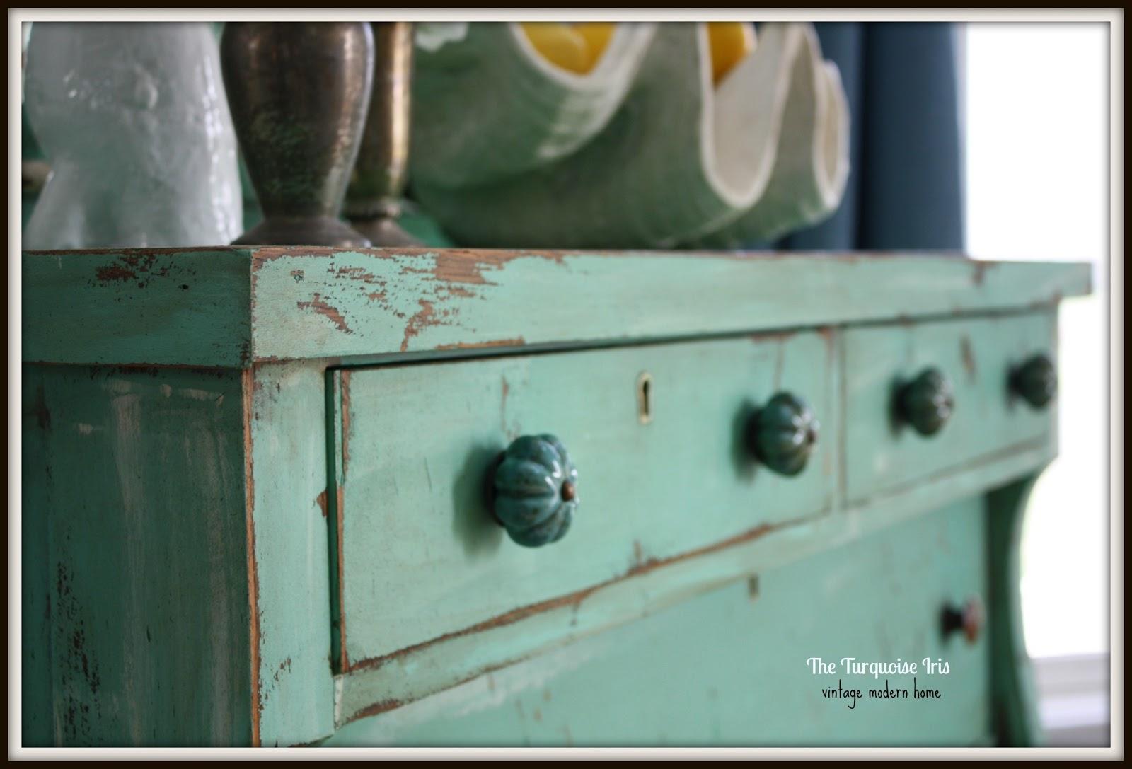 Mint Green Antique Dresser With Mirror