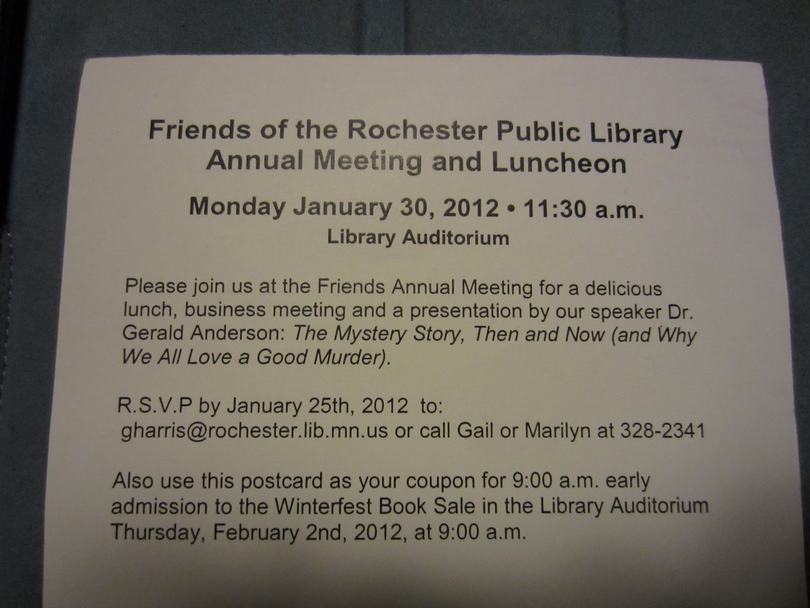 Friends of the Rochester Public Library: Annual Meeting ...