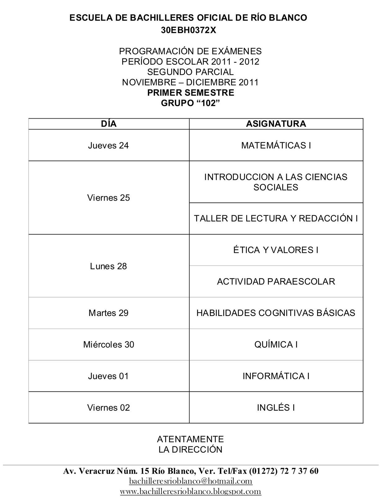 ESCUELA DE BACHILLERES OFICIAL DE RIO BLANCO: 2011