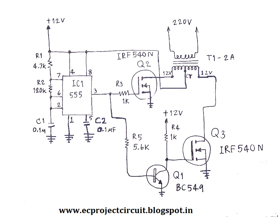 220 volts power inverter using NE555 and MOSFET_2%2Bcopy.bmp 555 timer circuits with inverter on wiring diagram light switch 3 way