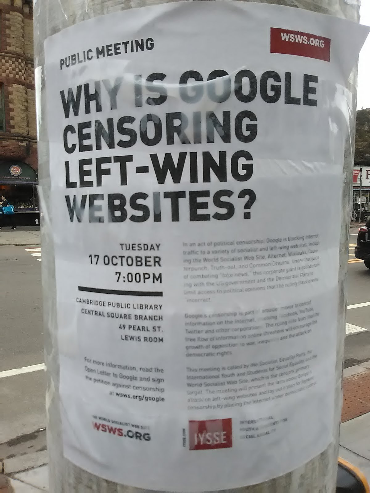 Public Meeting 10-17 Cambridge MA Censorship